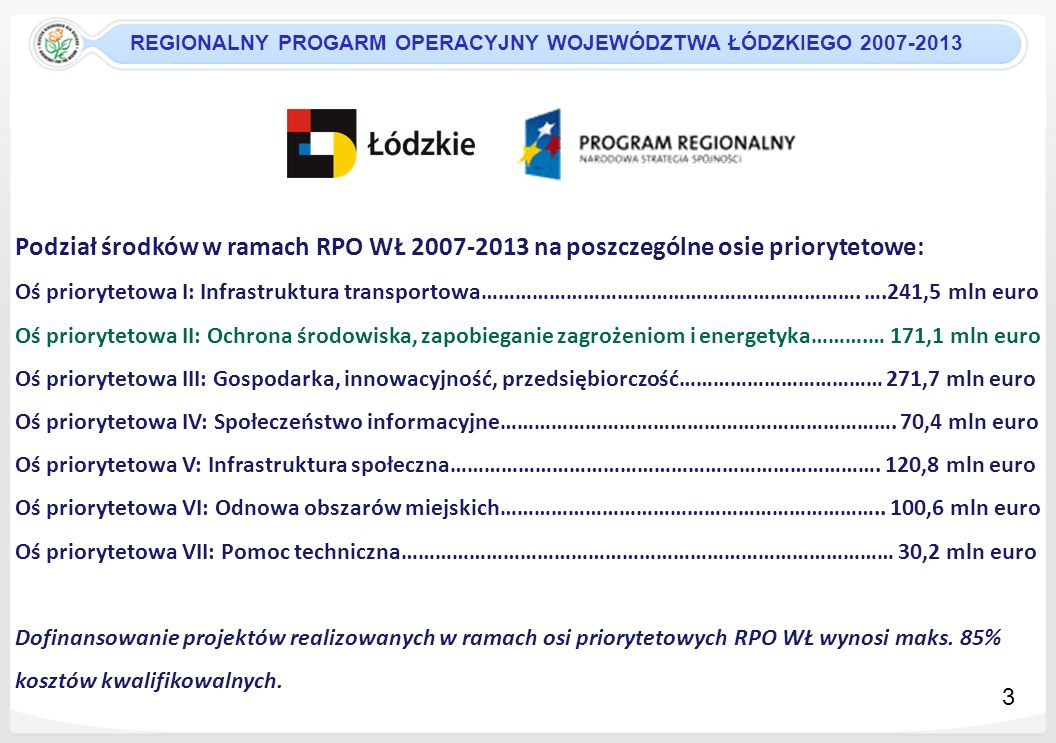 REGIONALNY PROGARM OPERACYJNY WOJEWÓDZTWA ŁÓDZKIEGO 2007-2013