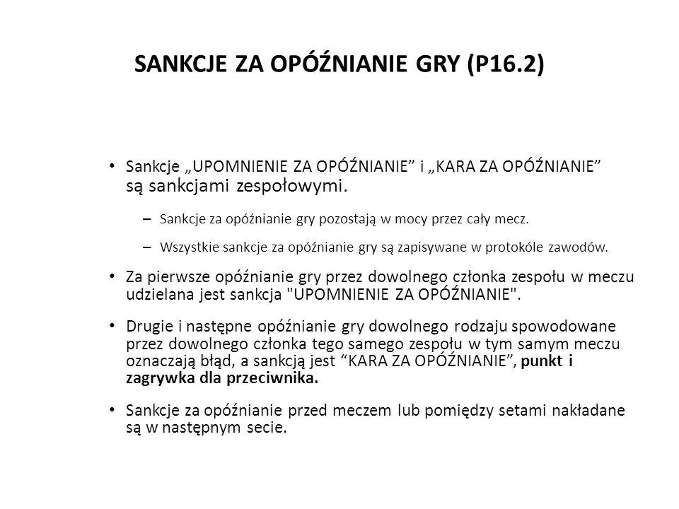 SANKCJE ZA OPÓŹNIANIE GRY (P16.2)
