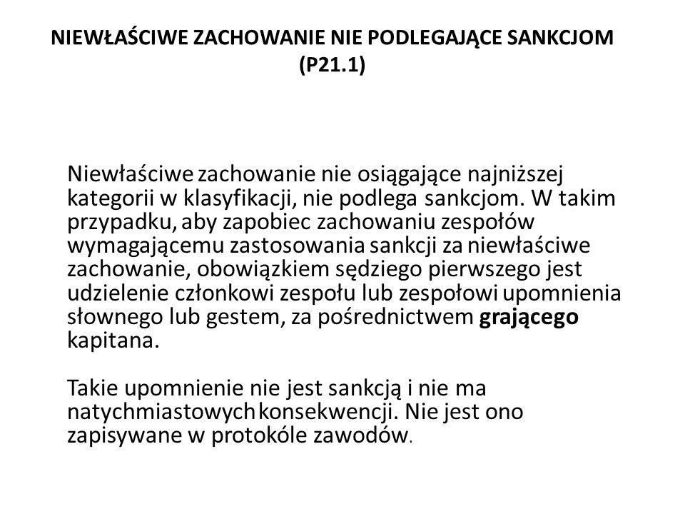 NIEWŁAŚCIWE ZACHOWANIE NIE PODLEGAJĄCE SANKCJOM (P21.1)