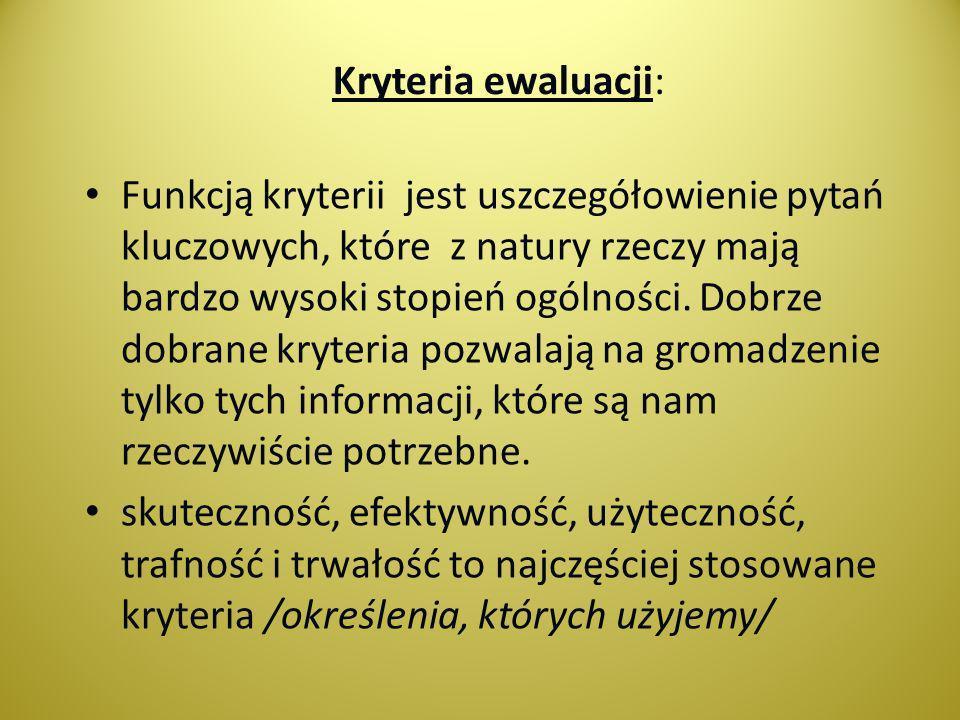Kryteria ewaluacji: