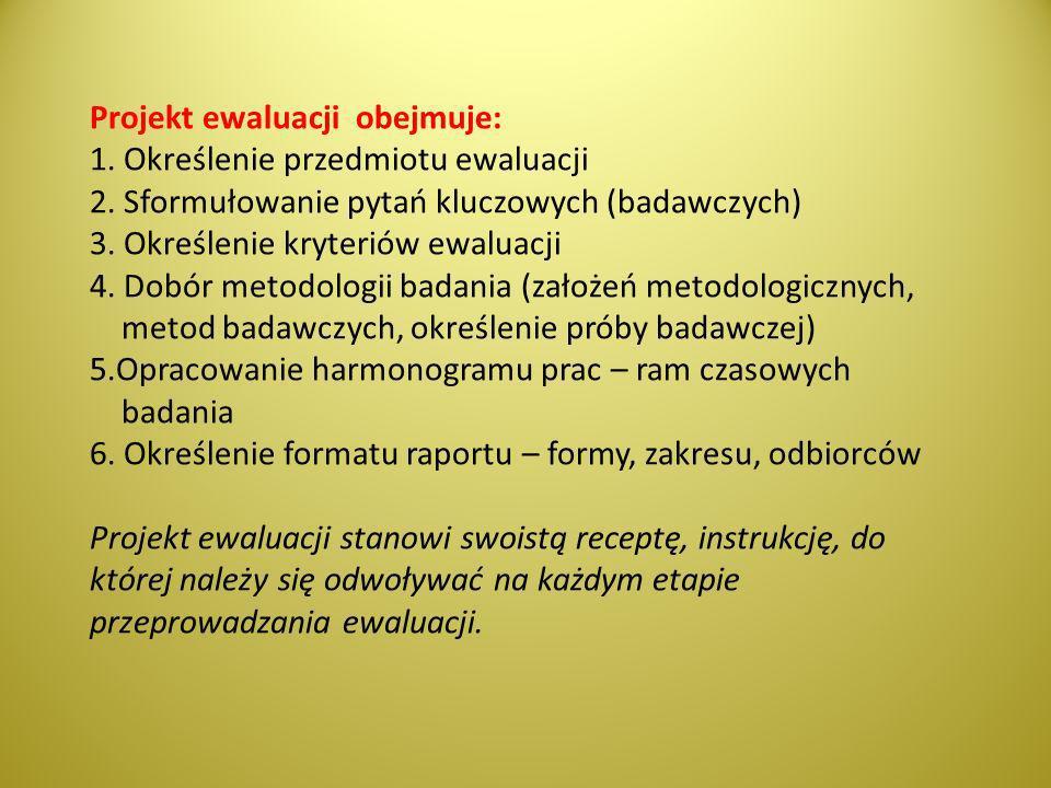 Projekt ewaluacji obejmuje: 1. Określenie przedmiotu ewaluacji 2
