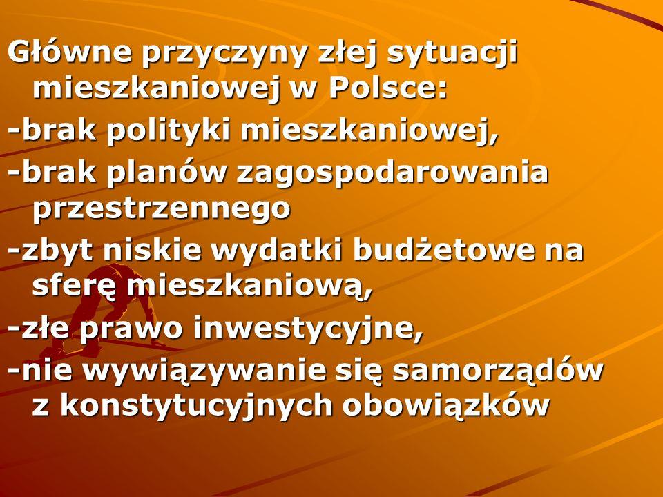 Główne przyczyny złej sytuacji mieszkaniowej w Polsce: