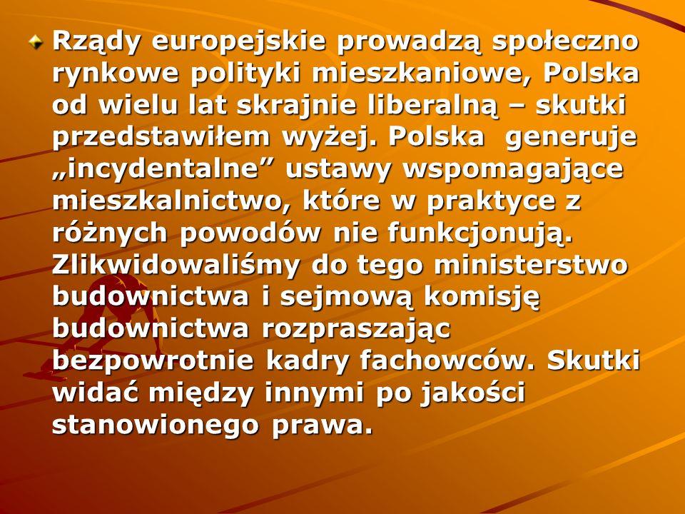 Rządy europejskie prowadzą społeczno rynkowe polityki mieszkaniowe, Polska od wielu lat skrajnie liberalną – skutki przedstawiłem wyżej.