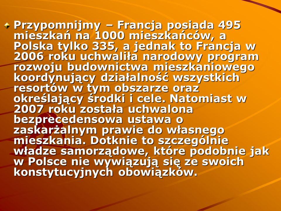Przypomnijmy – Francja posiada 495 mieszkań na 1000 mieszkańców, a Polska tylko 335, a jednak to Francja w 2006 roku uchwaliła narodowy program rozwoju budownictwa mieszkaniowego koordynujący działalność wszystkich resortów w tym obszarze oraz określający środki i cele.
