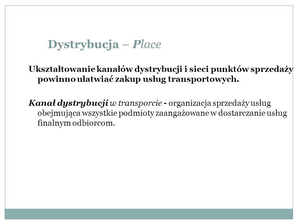 Dystrybucja – PlaceUkształtowanie kanałów dystrybucji i sieci punktów sprzedaży powinno ułatwiać zakup usług transportowych.