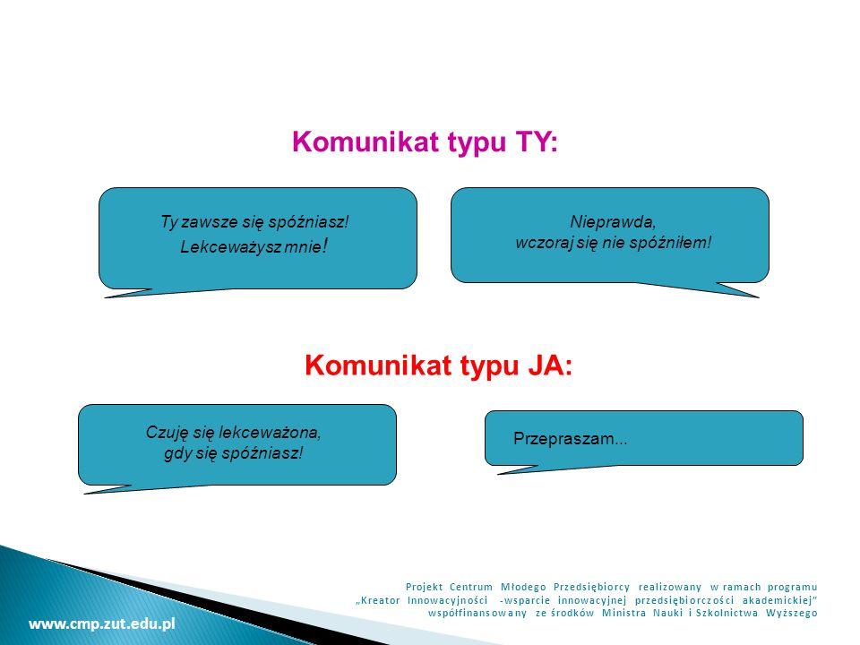 Komunikat typu TY: Komunikat typu JA: