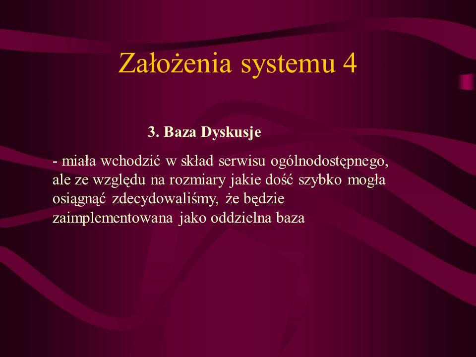 Założenia systemu 4 3. Baza Dyskusje