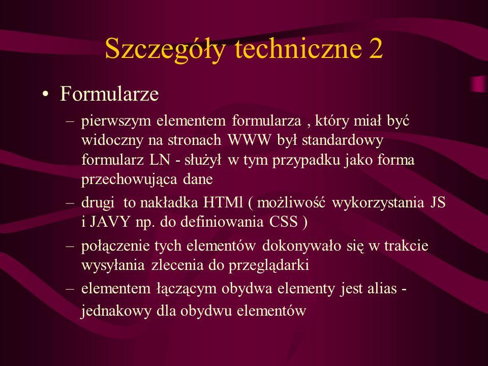 Szczegóły techniczne 2 Formularze