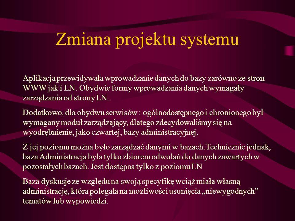 Zmiana projektu systemu