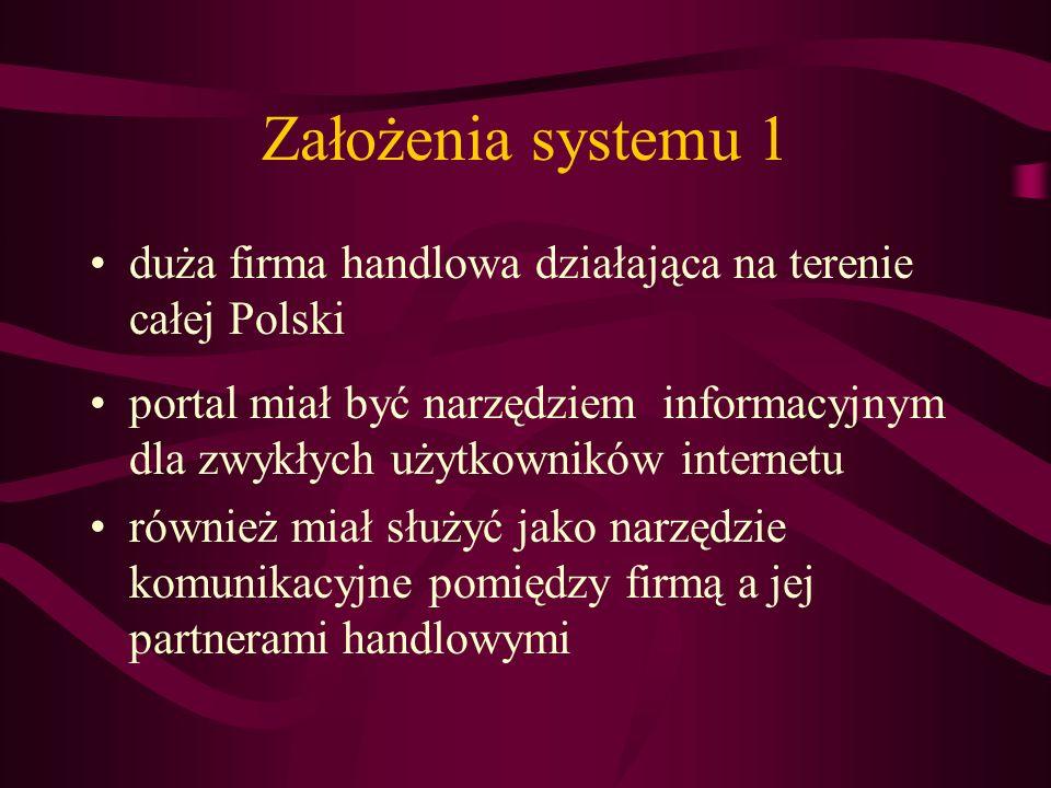 Założenia systemu 1 duża firma handlowa działająca na terenie całej Polski.