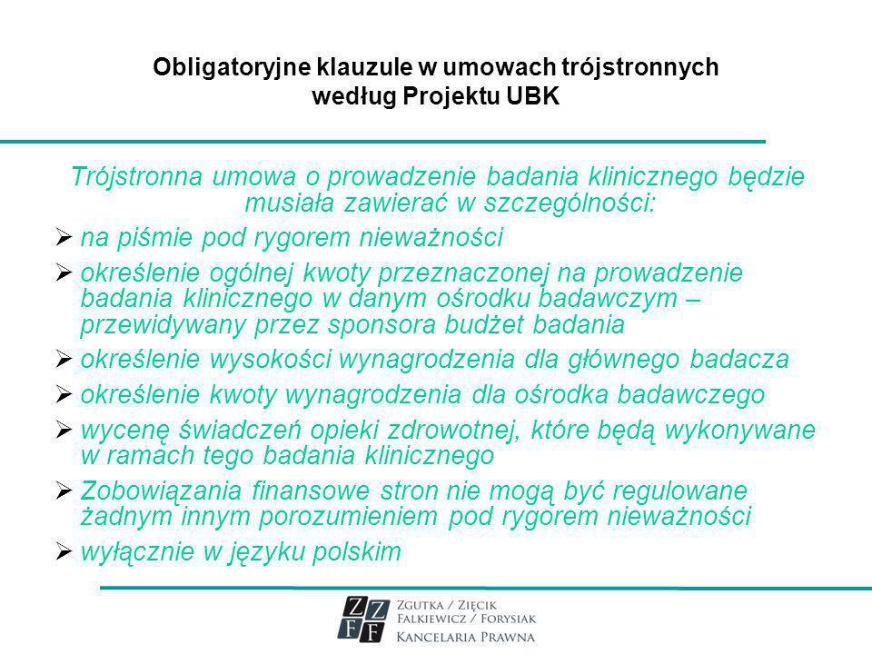 Obligatoryjne klauzule w umowach trójstronnych według Projektu UBK