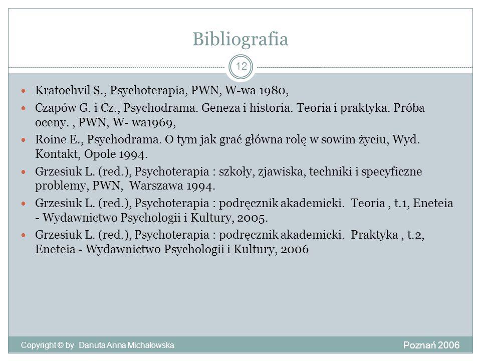 Bibliografia Kratochvil S., Psychoterapia, PWN, W-wa 1980,
