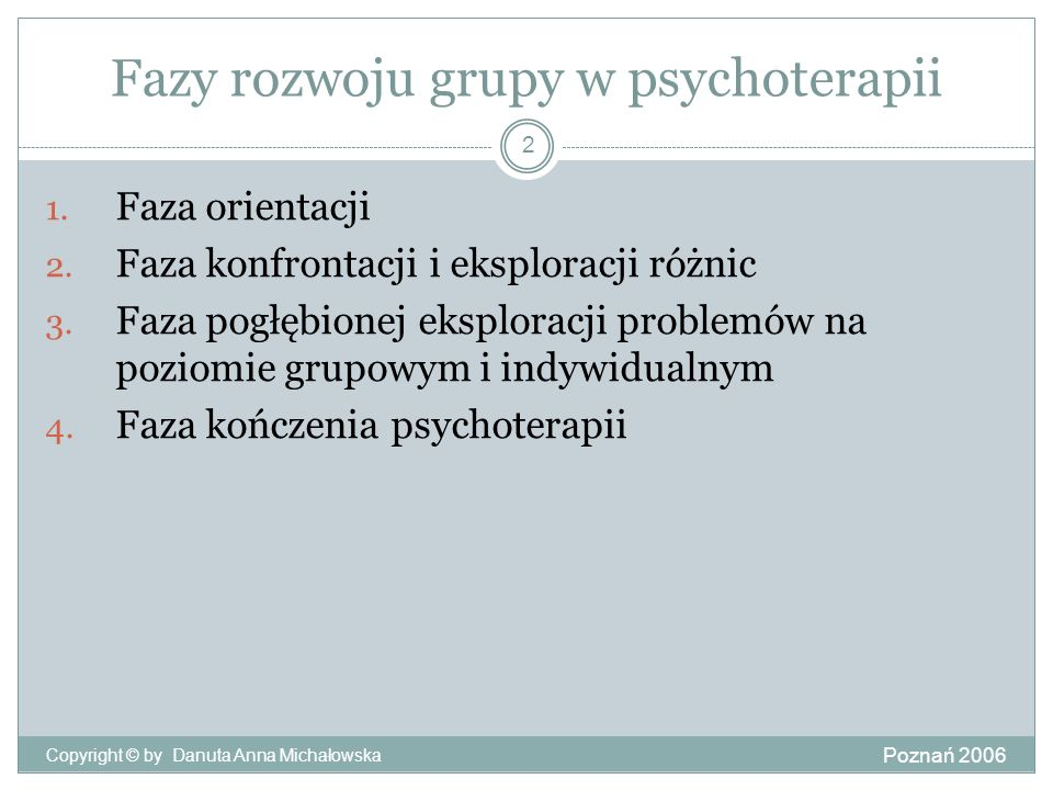 Fazy rozwoju grupy w psychoterapii