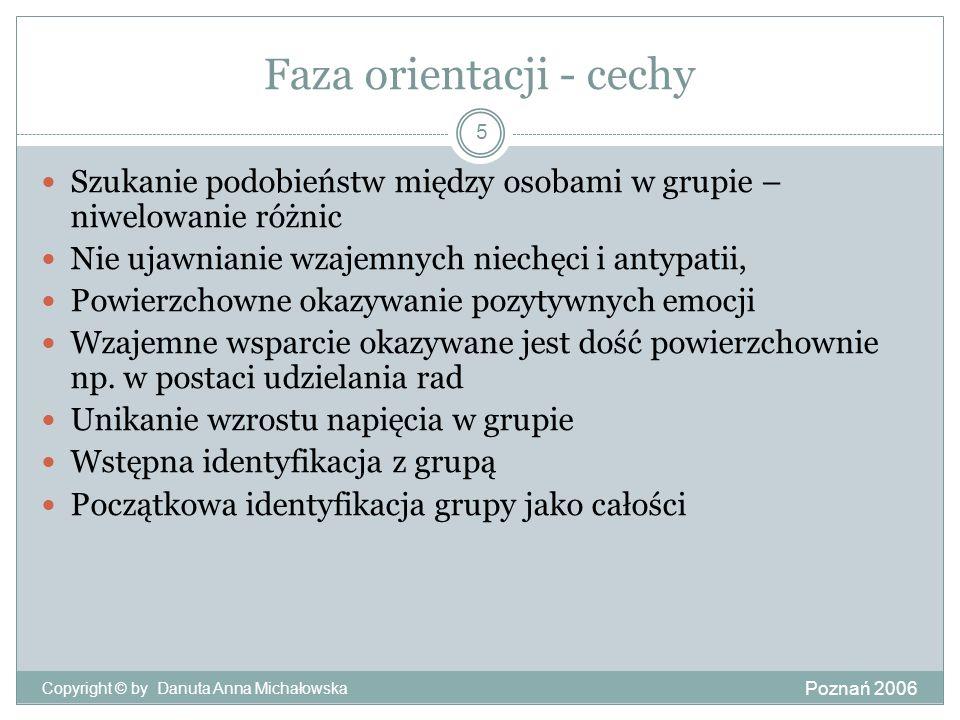 Faza orientacji - cechy