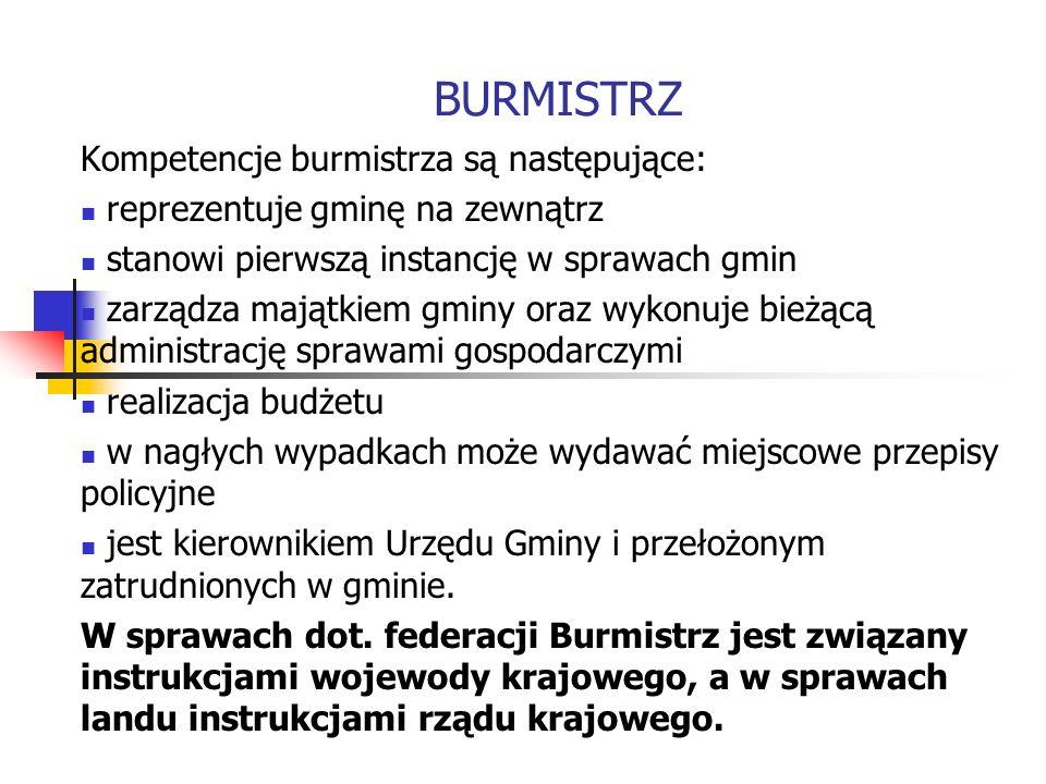 BURMISTRZ Kompetencje burmistrza są następujące: