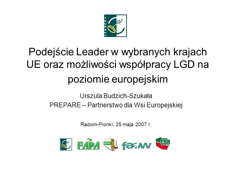 Podejście Leader w wybranych krajach UE oraz możliwości współpracy LGD na poziomie europejskim