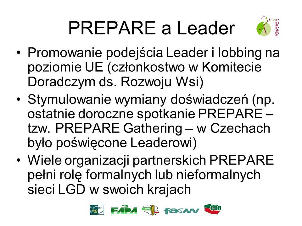 PREPARE a Leader Promowanie podejścia Leader i lobbing na poziomie UE (członkostwo w Komitecie Doradczym ds. Rozwoju Wsi)