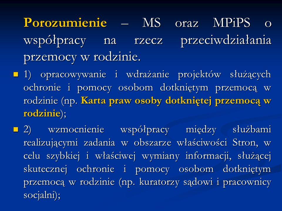 Porozumienie – MS oraz MPiPS o współpracy na rzecz przeciwdziałania przemocy w rodzinie.