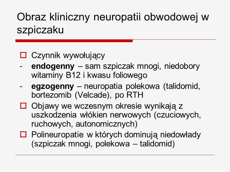Obraz kliniczny neuropatii obwodowej w szpiczaku