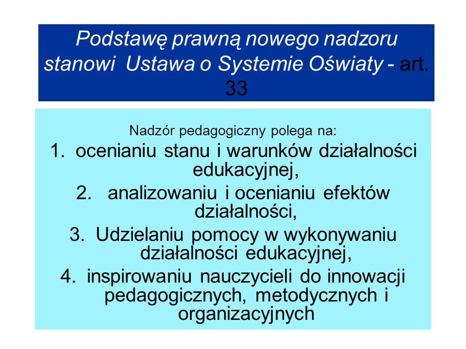 Podstawę prawną nowego nadzoru stanowi Ustawa o Systemie Oświaty - art