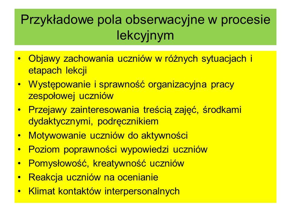 Przykładowe pola obserwacyjne w procesie lekcyjnym