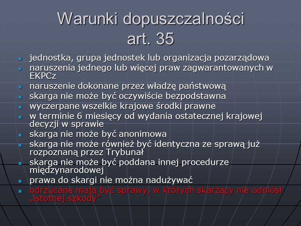 Warunki dopuszczalności art. 35