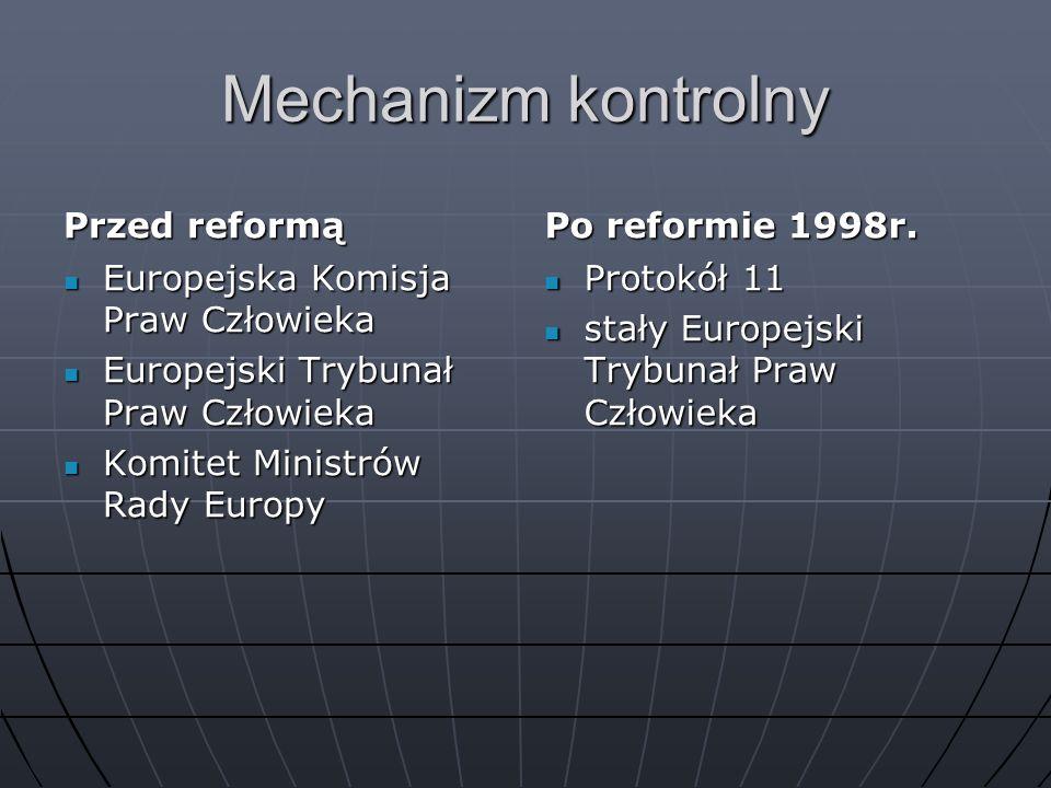Mechanizm kontrolny Przed reformą Po reformie 1998r.