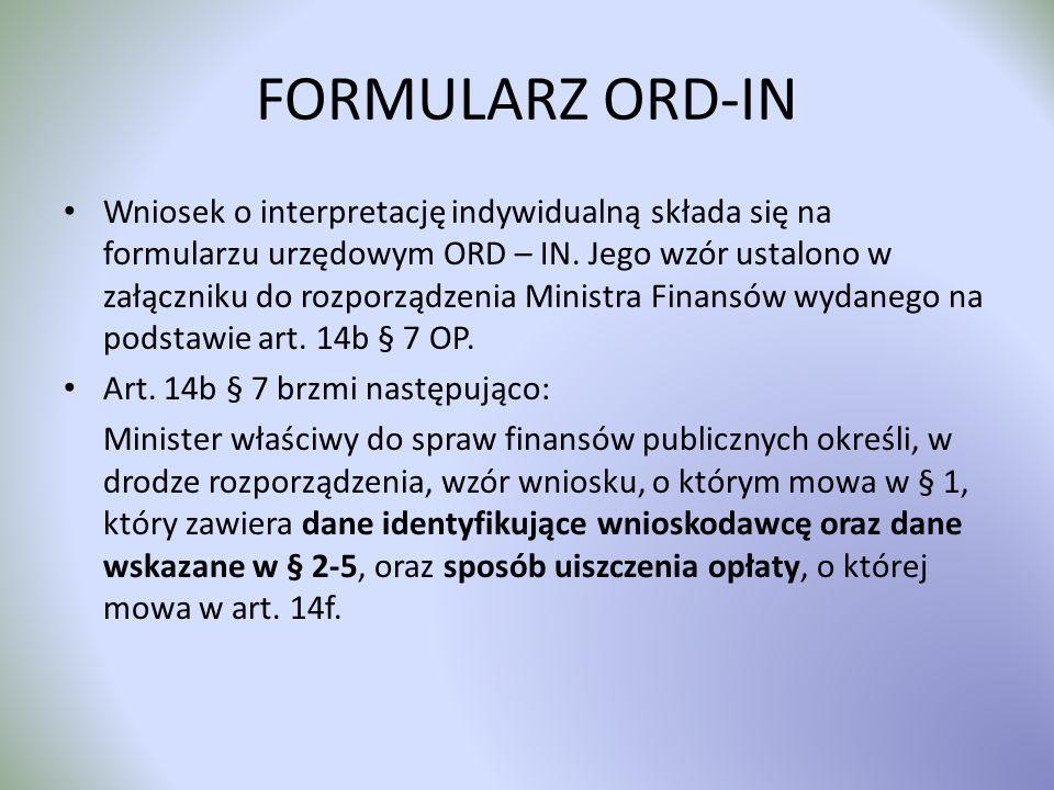 FORMULARZ ORD-IN