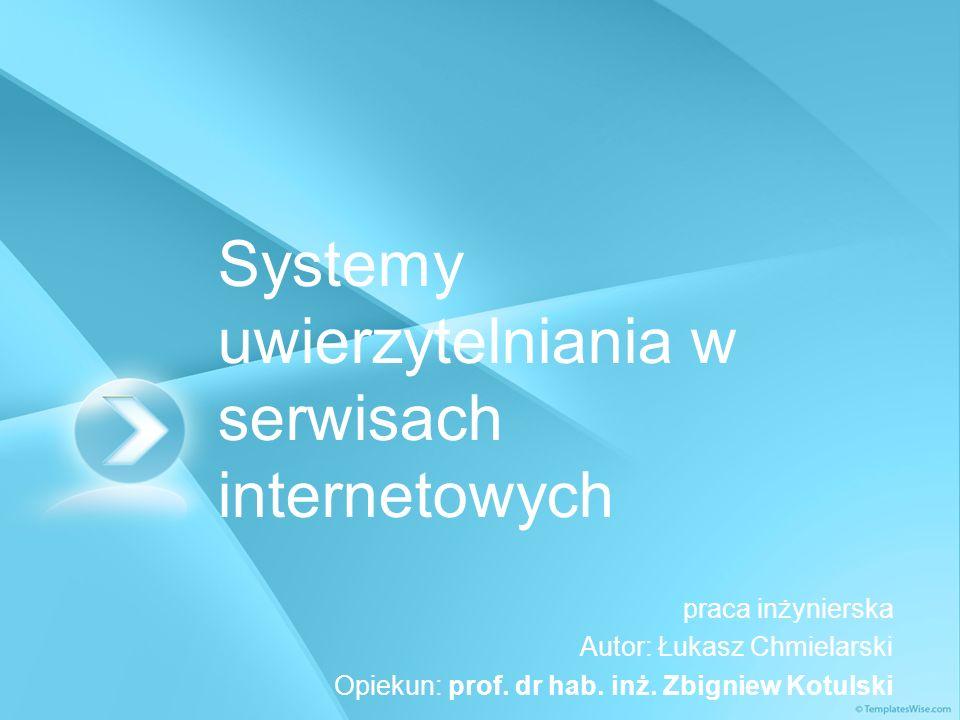 Systemy uwierzytelniania w serwisach internetowych