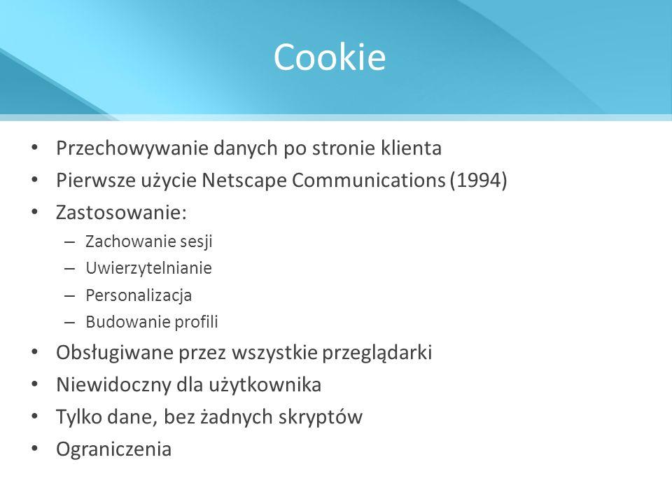 Cookie Przechowywanie danych po stronie klienta