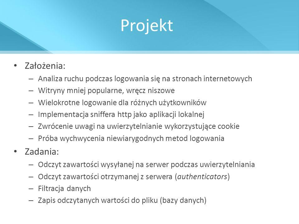 Projekt Założenia: Zadania: