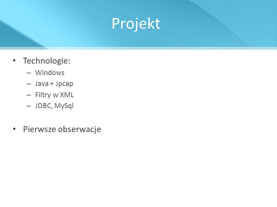 Projekt Technologie: Pierwsze obserwacje Windows Java + Jpcap