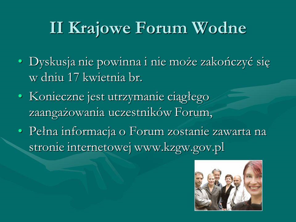 II Krajowe Forum Wodne Dyskusja nie powinna i nie może zakończyć się w dniu 17 kwietnia br.