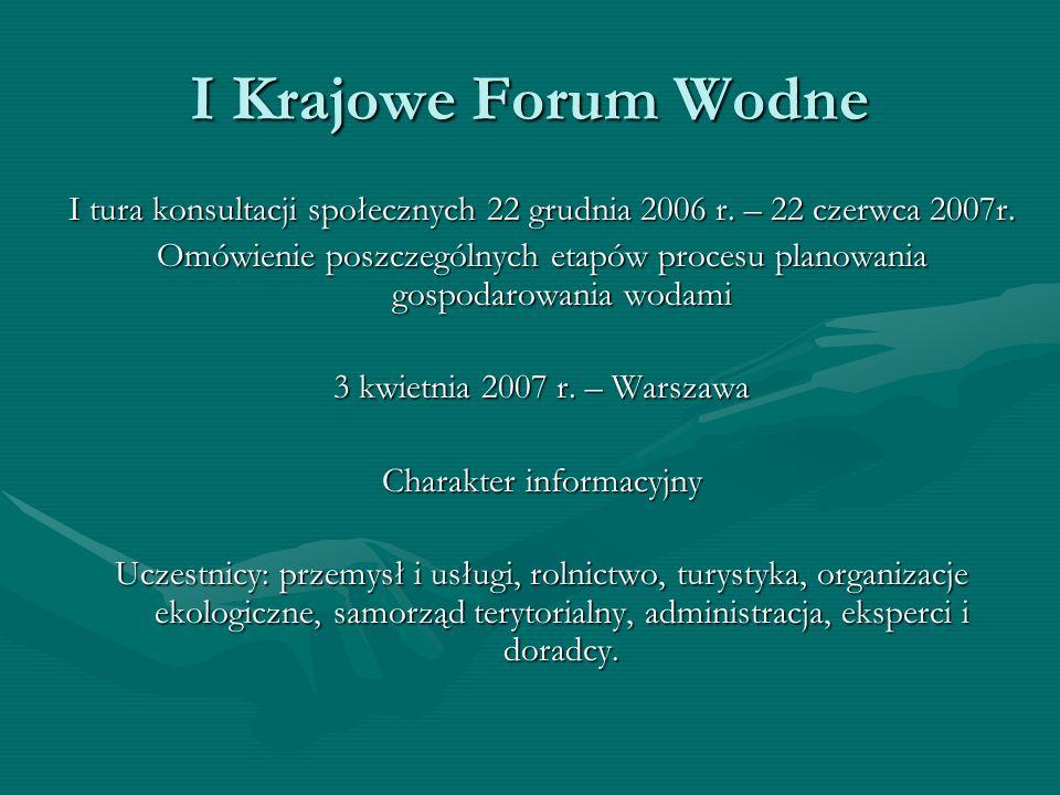 I Krajowe Forum Wodne I tura konsultacji społecznych 22 grudnia 2006 r. – 22 czerwca 2007r.