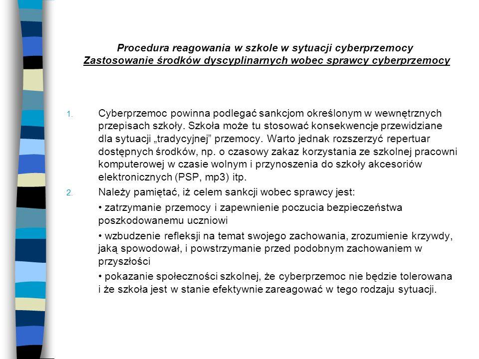Procedura reagowania w szkole w sytuacji cyberprzemocy Zastosowanie środków dyscyplinarnych wobec sprawcy cyberprzemocy