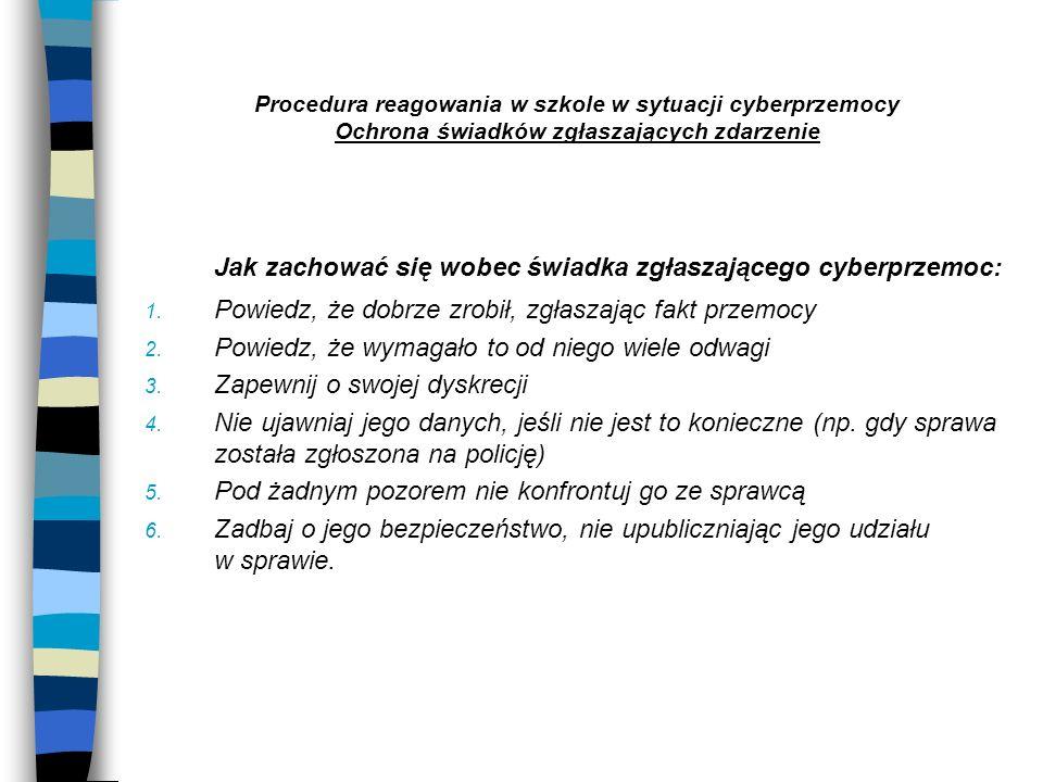 Jak zachować się wobec świadka zgłaszającego cyberprzemoc: