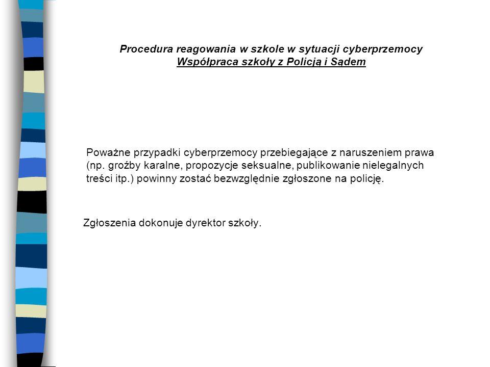 Procedura reagowania w szkole w sytuacji cyberprzemocy Współpraca szkoły z Policją i Sądem