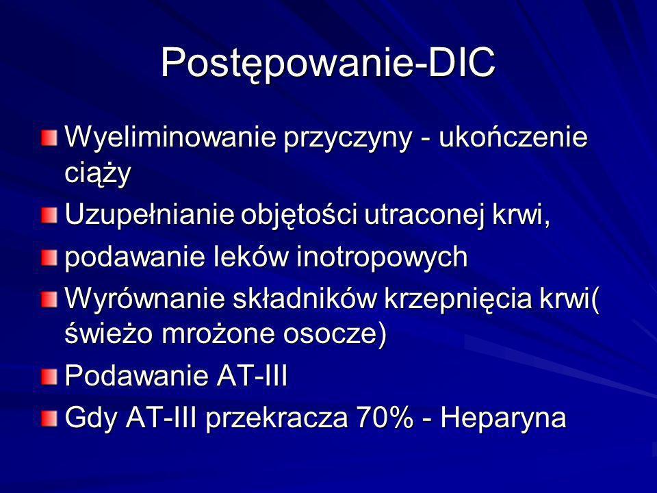 Postępowanie-DIC Wyeliminowanie przyczyny - ukończenie ciąży