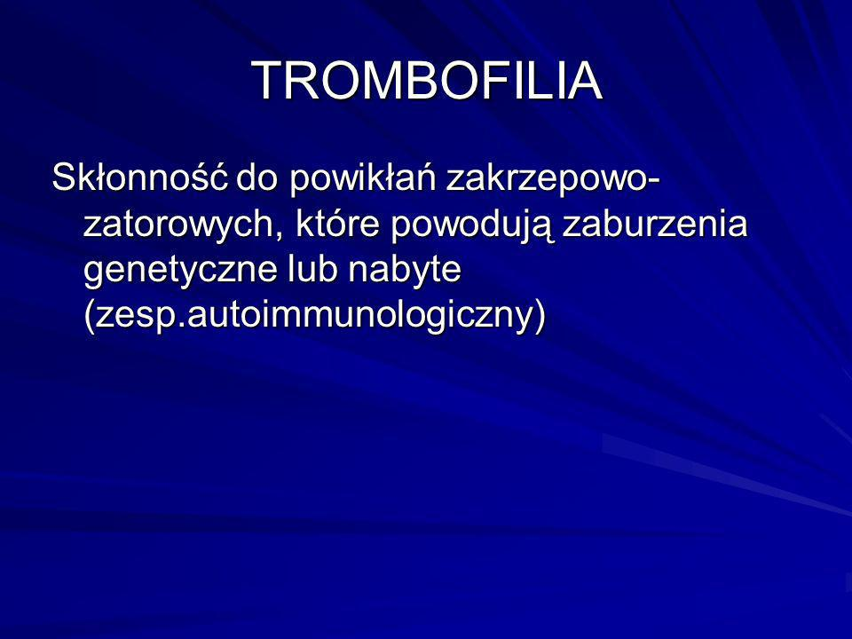 TROMBOFILIASkłonność do powikłań zakrzepowo-zatorowych, które powodują zaburzenia genetyczne lub nabyte (zesp.autoimmunologiczny)