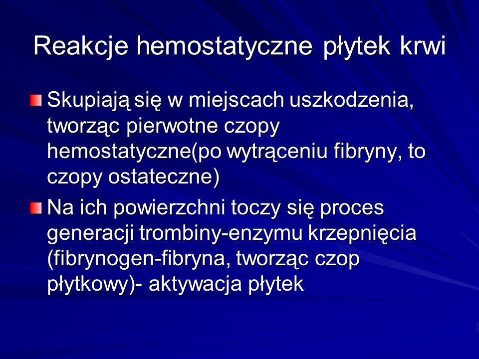 Reakcje hemostatyczne płytek krwi