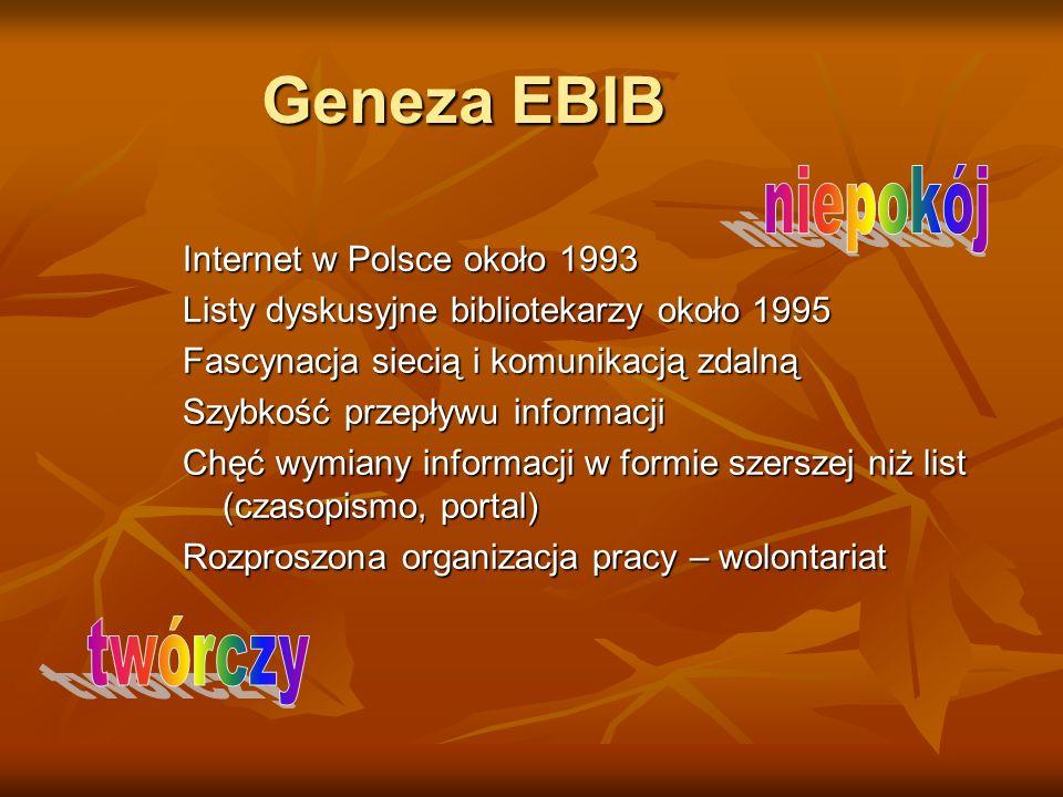 Geneza EBIB niepokój twórczy Internet w Polsce około 1993