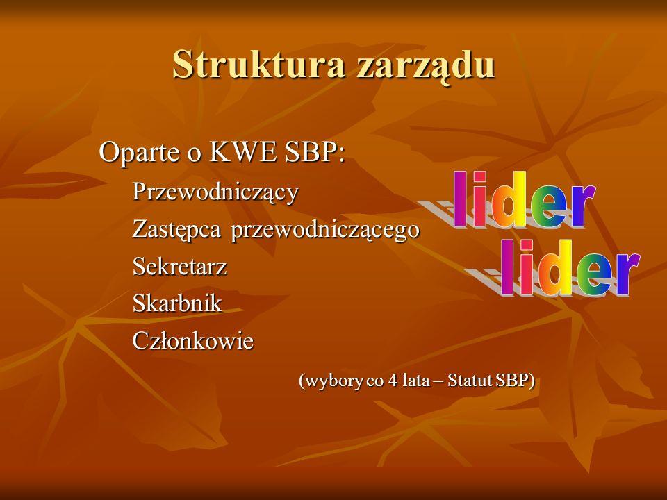 Struktura zarządu lider lider Oparte o KWE SBP: Przewodniczący