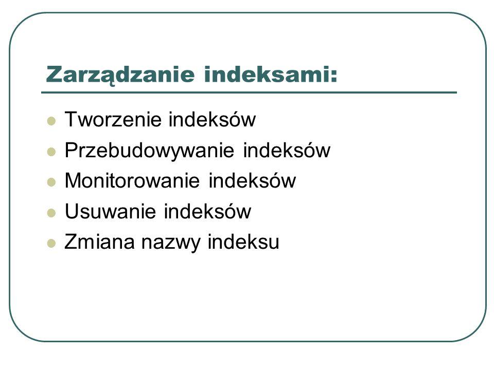 Zarządzanie indeksami: