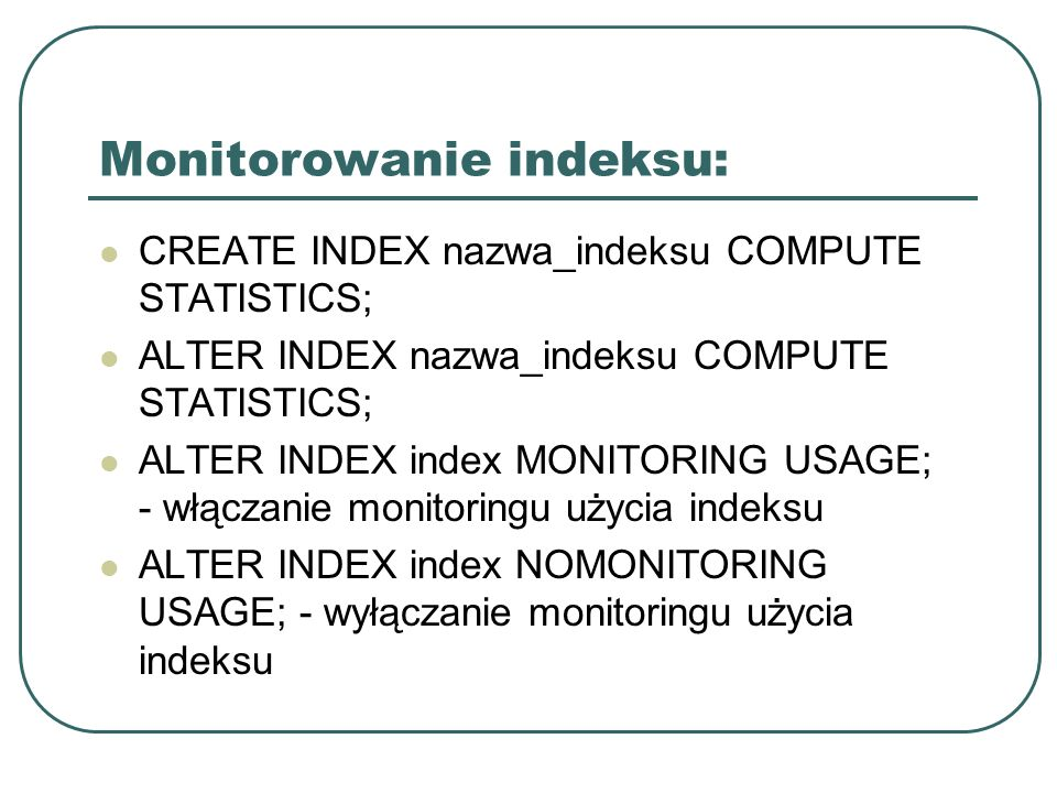 Monitorowanie indeksu: