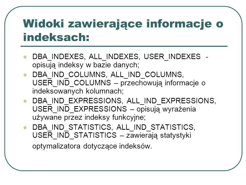Widoki zawierające informacje o indeksach: