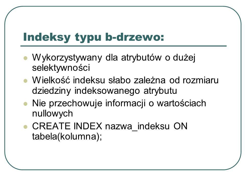 Indeksy typu b-drzewo: