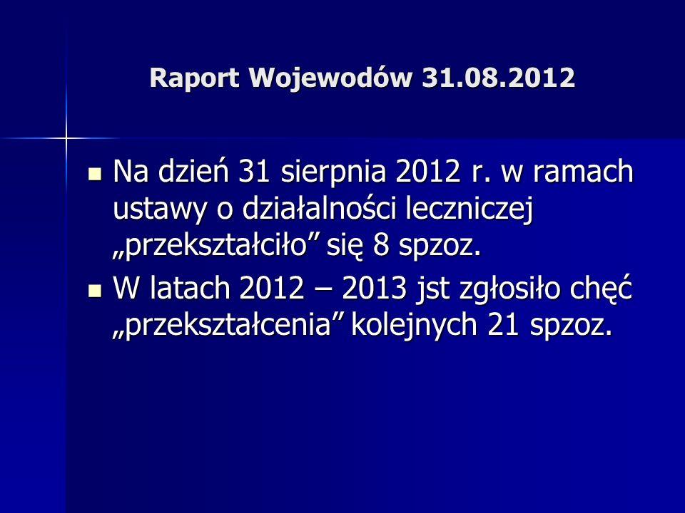 """Raport Wojewodów 31.08.2012Na dzień 31 sierpnia 2012 r. w ramach ustawy o działalności leczniczej """"przekształciło się 8 spzoz."""