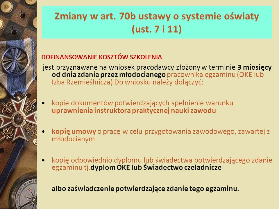 Zmiany w art. 70b ustawy o systemie oświaty (ust. 7 i 11)