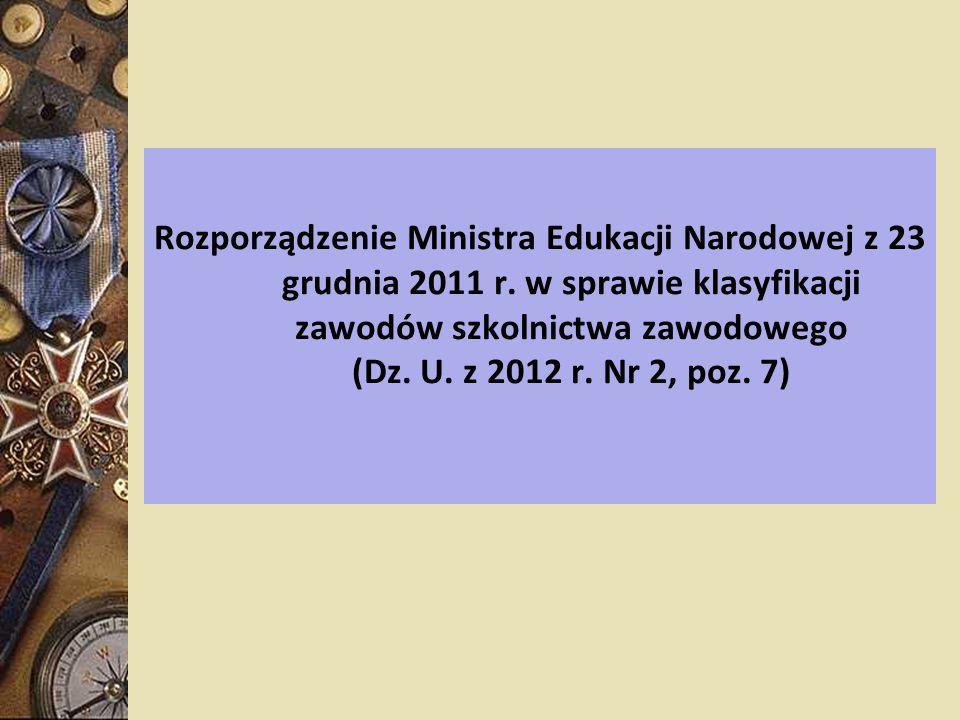 Rozporządzenie Ministra Edukacji Narodowej z 23 grudnia 2011 r