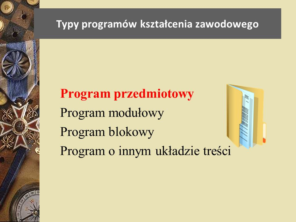 Typy programów kształcenia zawodowego